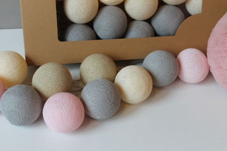 Cottonove Love - Lampka z Bawełnianych Kul 50szt. Pastelove