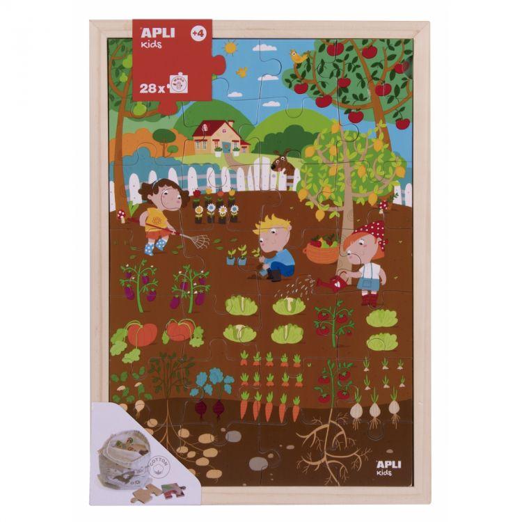 Apli Kids - Drewniane Puzzle w Ramce Ogród 4+