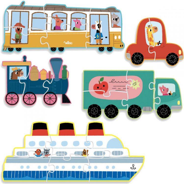 Vilac - 5 Puzzli Ewolucyjnych od 2 do 6 Elementów Transport