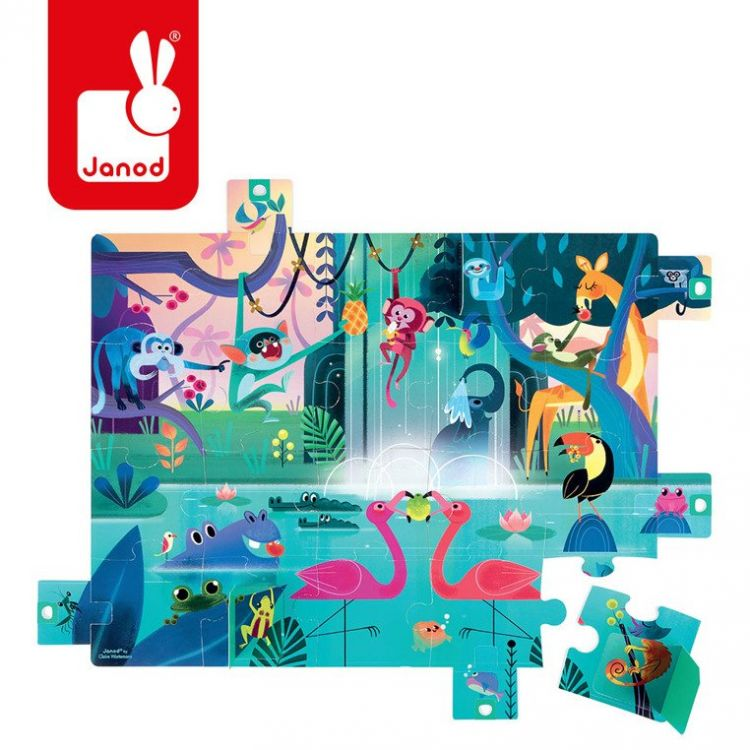 Janod, Puzzle z Niespodzianką 20 elementów Uczta w Dżungli 2+