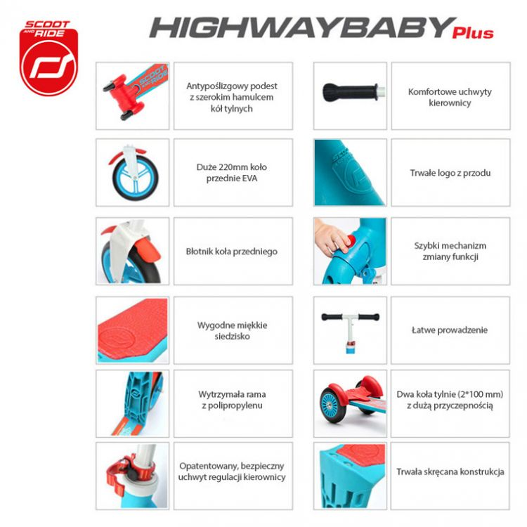 Scootandride - Highwaybaby PLUS 2w1 Hulajnoga i Rowerek Blue 1+