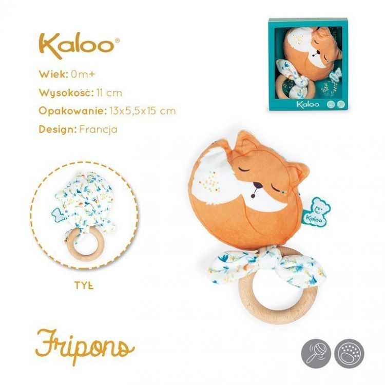 Kaloo - Gryzak Grzechotka Lisek Leonard 11 cm w Pudełku Kolekcja Fripons