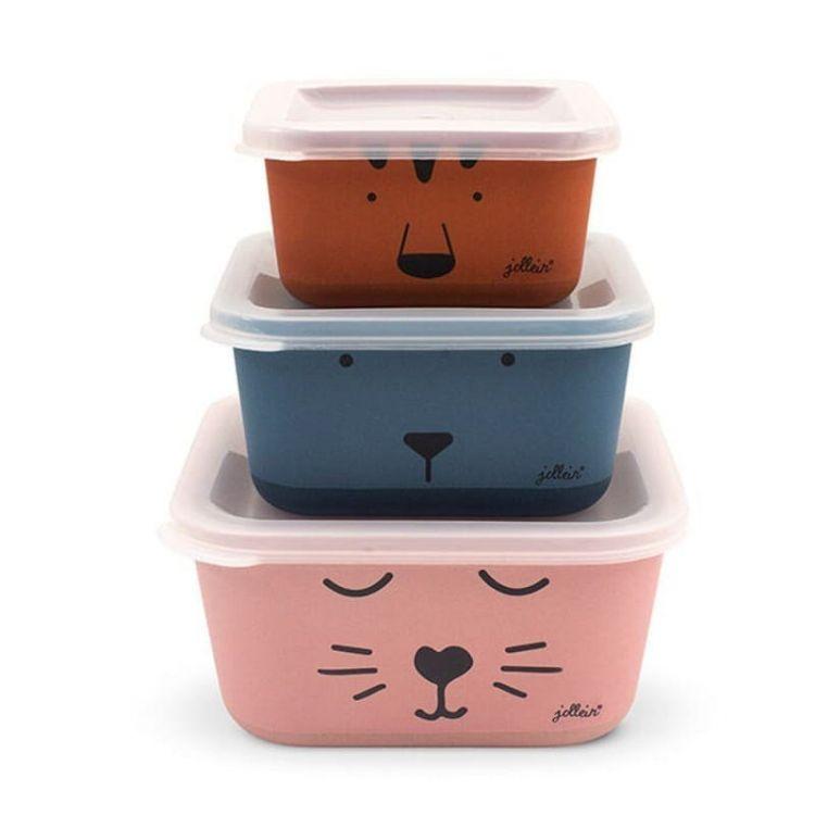 Jollein - 3 Śniadaniówki EKO Lunchbox Animal Club