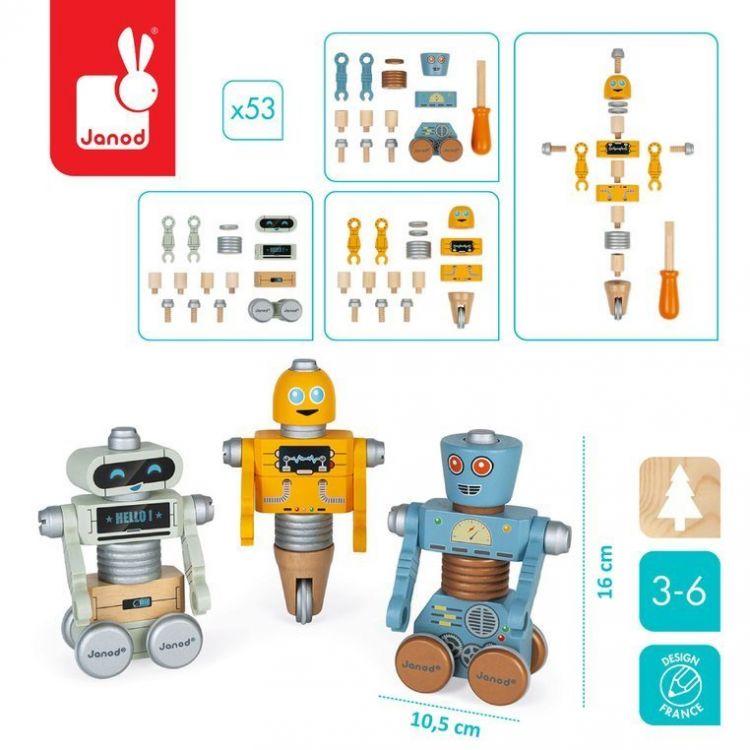 Janod - Drewniane Roboty do Składania ze Śrubokrętem Brico'kids 3+