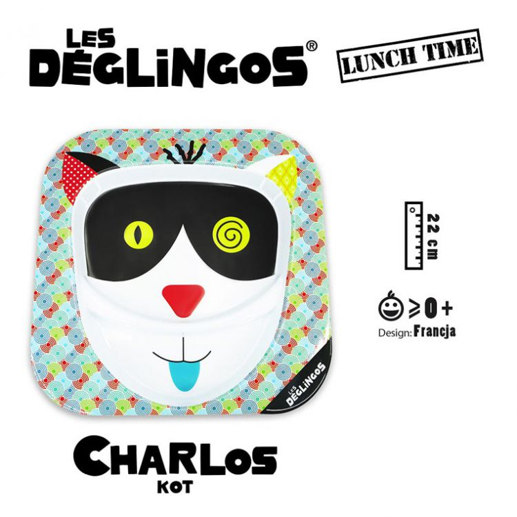 Les Deglingos - Talerz z Melaminy Kot Charlos