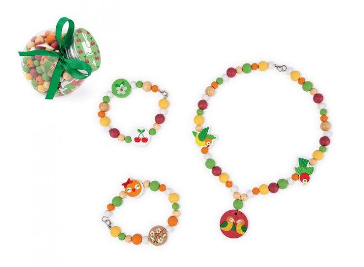 Janod - Zestaw do Tworzenia Biżuterii Drewniane Koraliki z Elementami Flourescencyjnymi Papużki Nierozłączki 6+
