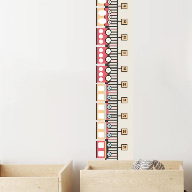 Pastelowelove - Naklejka Miarka Wzrostu Pociągi Czerwone
