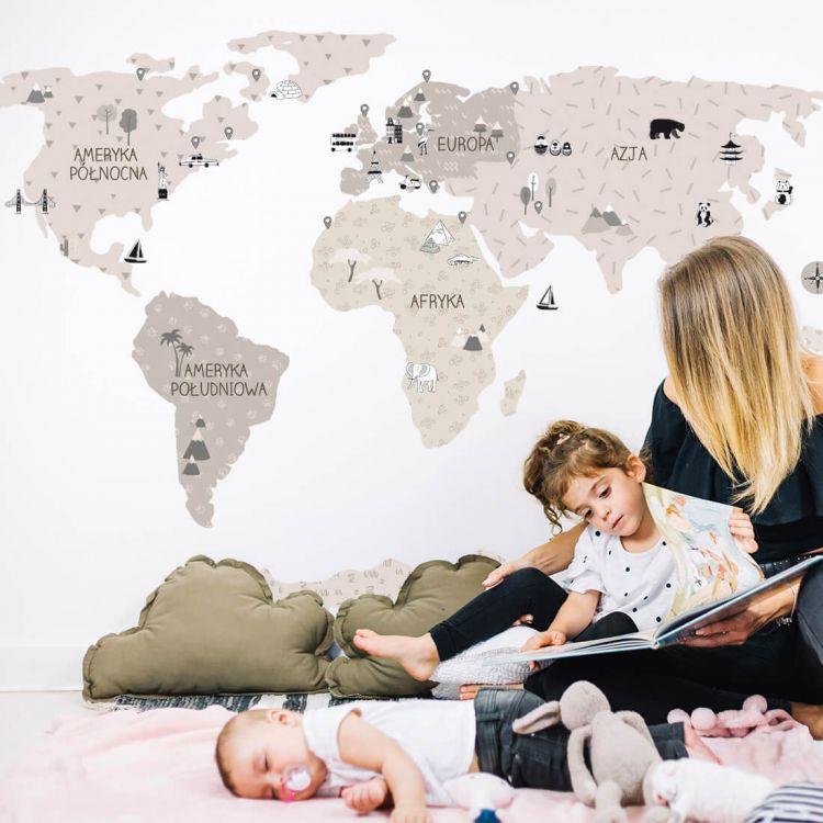 Pastelowelove - Naklejka na Ścianę Mapa Świata Beżowa M
