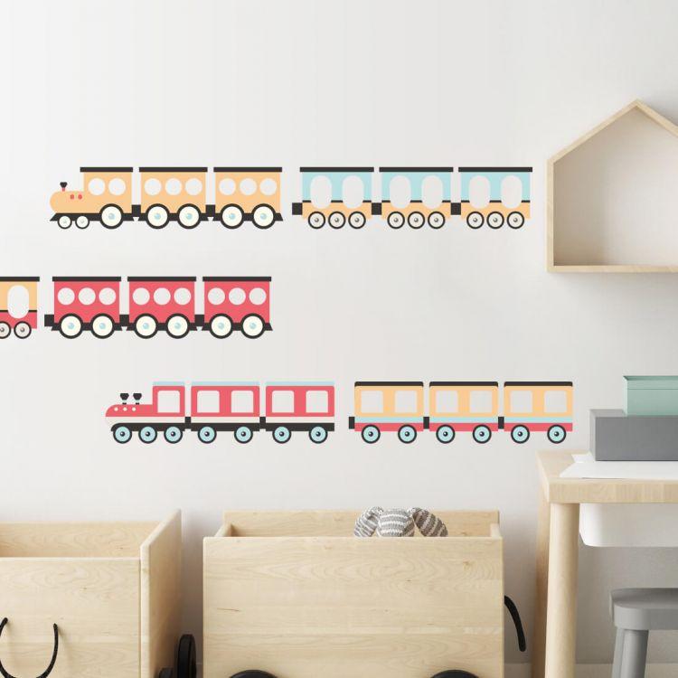Pastelowelove - Naklejki na Ścianę Pociągi Czerwone