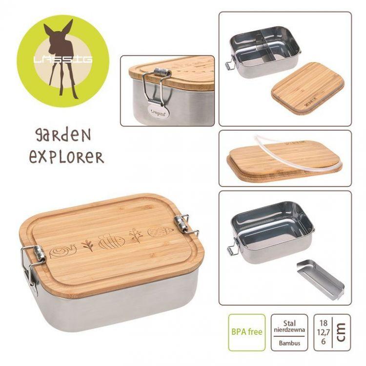 Lassig - Lunchbox ze Stali Nierdzewnej z Bambusową Pokrywką Garden Explorer