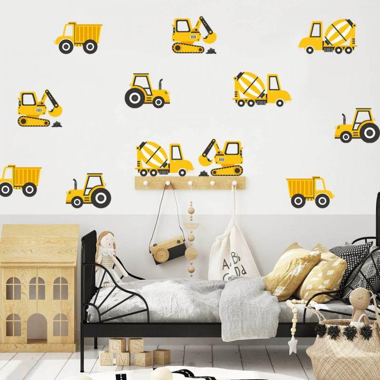 Pastelowelove - Naklejki na Ścianę Pojazdy Budowlane Żółte
