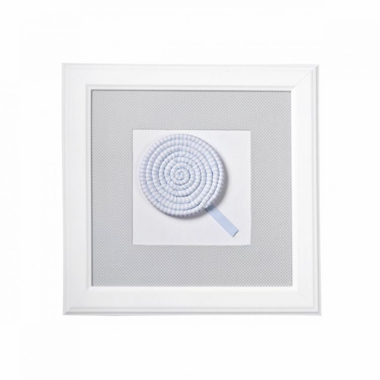 Caramella - Obrazek Jasnoszary z Motywem Błękitnego Lizaka