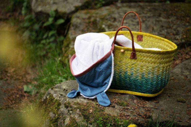 Poofi - Duży Ręcznik z Uszkami Lamówka Denim, Kapturek Bordo