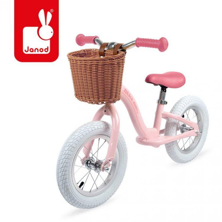 Janod - Metalowy Rowerek Biegowy Bikloon Vintage Różowy 3+