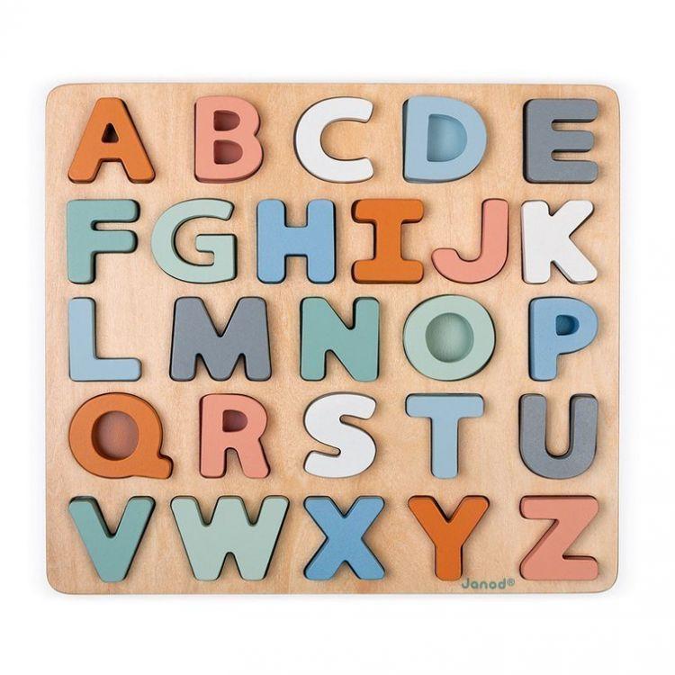 Janod - Drewniane Puzzle Alfabet 3D z Tablicą Sweet Cocoon