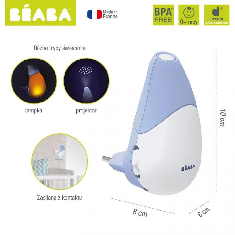 Beaba - Lampka Nocna LED z Projektorem Gwiazd i Czujnikiem Płaczu i Ruchu Pixie Star Mineral