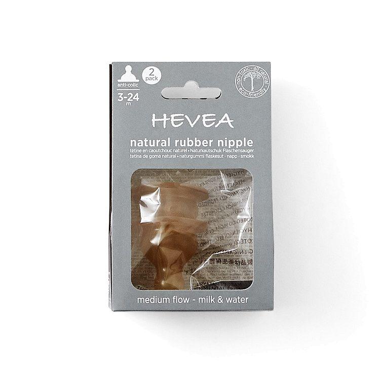Hevea - smoczek kauczukowy, antykolkowy, średni przepływ, 3-24m, 2 szt.
