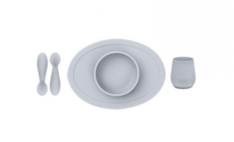EZPZ - Komplet Pierwszych Naczyń Silikonowych First Foods Set Pastelowa Szarość