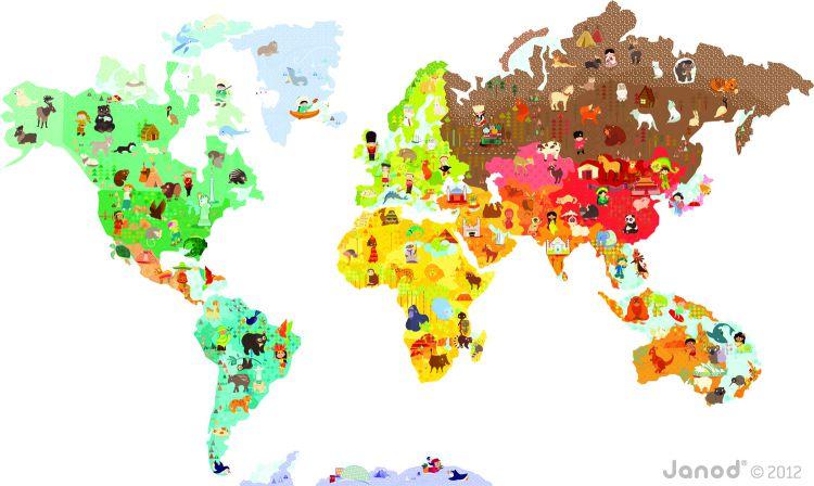 Janod Magnetyczna Naklejka Mapa Świata