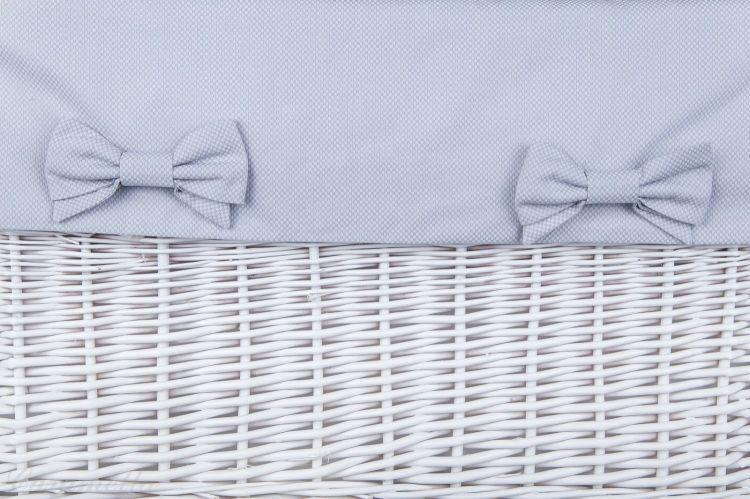 Caramella - Kosz Biały z Obszyciem Szarym w Kosteczkę Duży