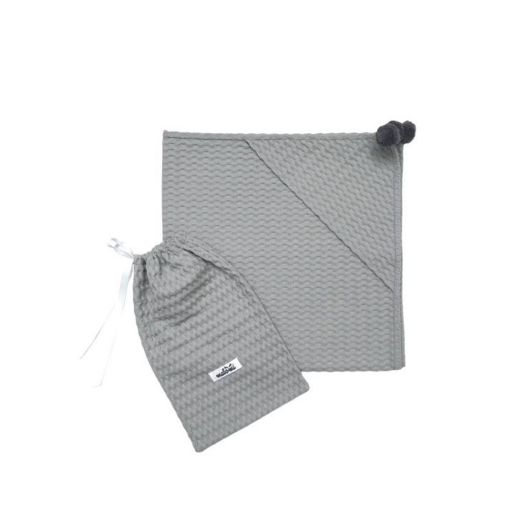 Malomi Kids - Kocyk Wafferl Jednowarstwowy z Kapturkiem 90x90 Grey