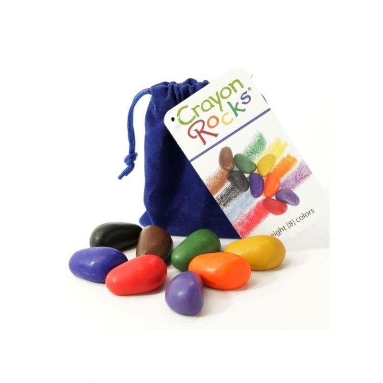 Crayon Rocks - Kredki 8  Kolorów w Aksamitnym Granatowym Woreczku 3+