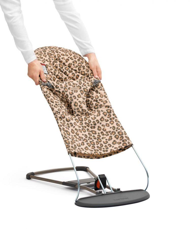 BabyBjorn - Leżaczek Bliss Mesh Antracytowy/Leopard + Poszycie do Leżaczka Balance Bliss Beż/Leopard Cotton