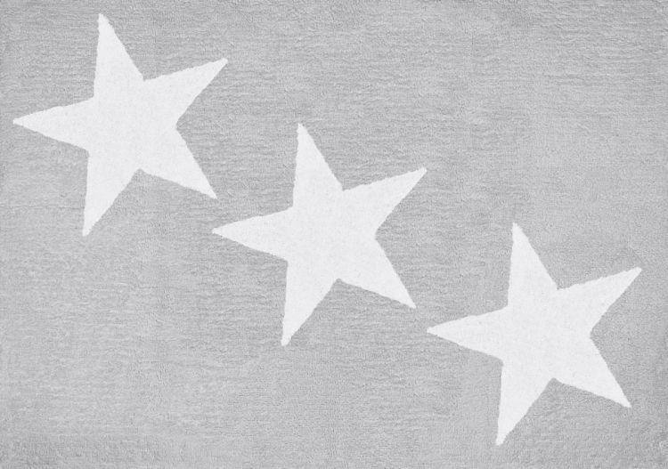 Aratextil - Dywan Bawełniany do Prania w Pralce Jasnoszary z 3 Białymi Gwiazdkami 120x160cm