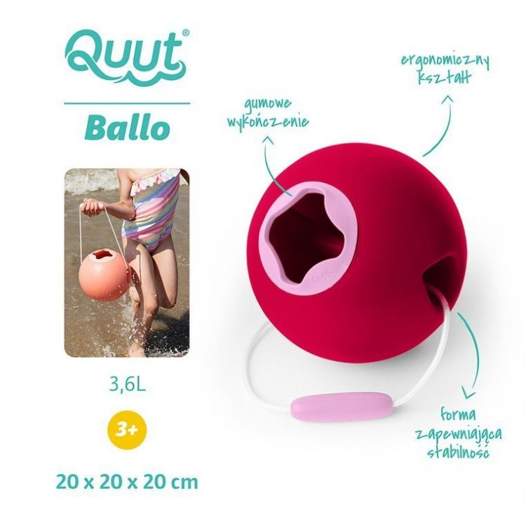Quut - Wiaderko Wielofunkcyjne Ballo Cherry Red + Sweet Pink