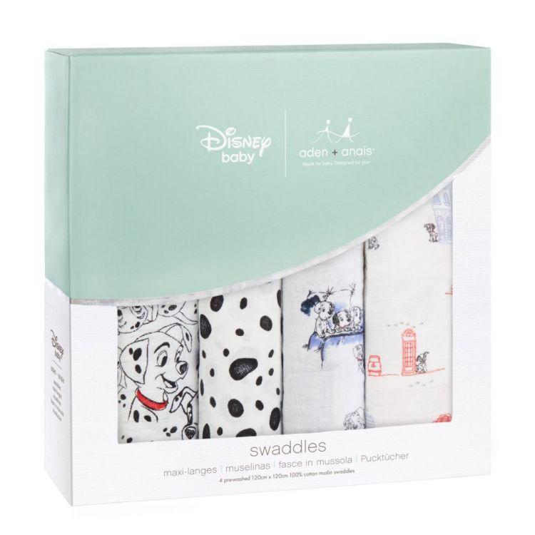 aden + anais - Otulacz Muślinowy Disney 101 Dalmatyńczyków 4szt 120x120cm