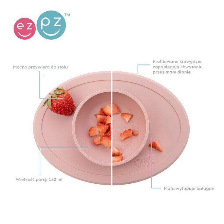 EZPZ - Komplet Pierwszych Naczyń Silikonowych First Foods Set Pastelowy Róż