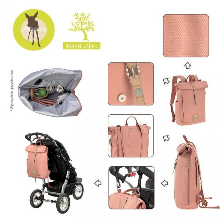 Lassig - Green Label Plecak dla Mam z Akcesoriami Rolltop Backpack Cinnamon