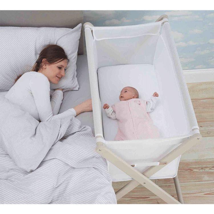 Little Chick London - Oddychające Łóżeczko Dostawne Crib White