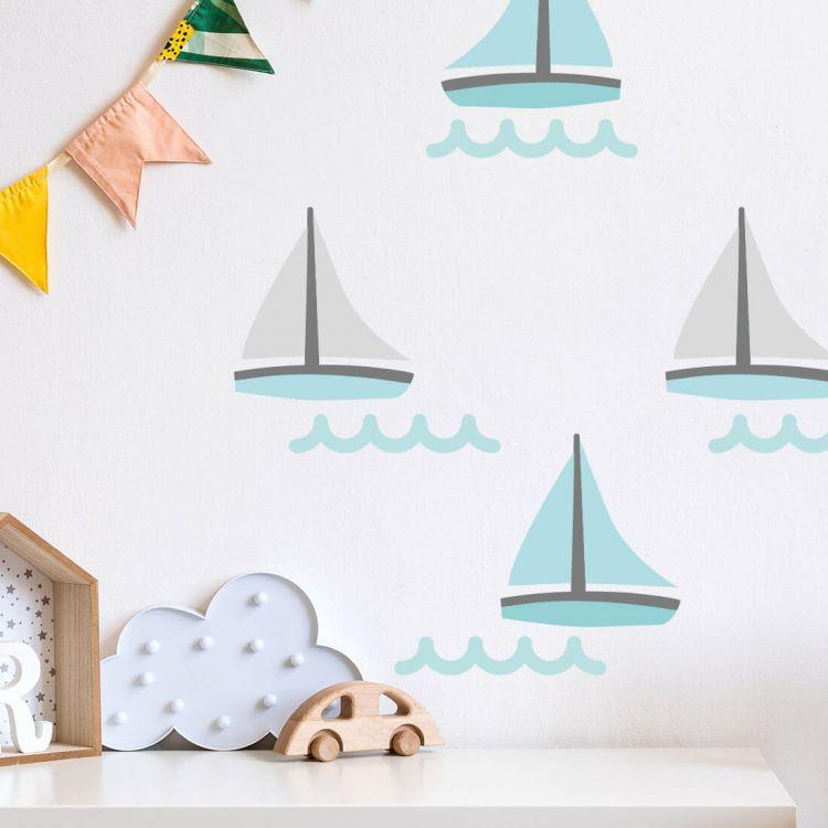 Pastelowelove - Naklejki na Ścianę Żaglówki Miętowe