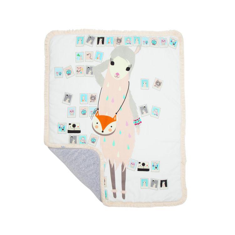 Maki Mon Ami - Dwustronny Ciepły Koc z Frędzlami Lamą Mila