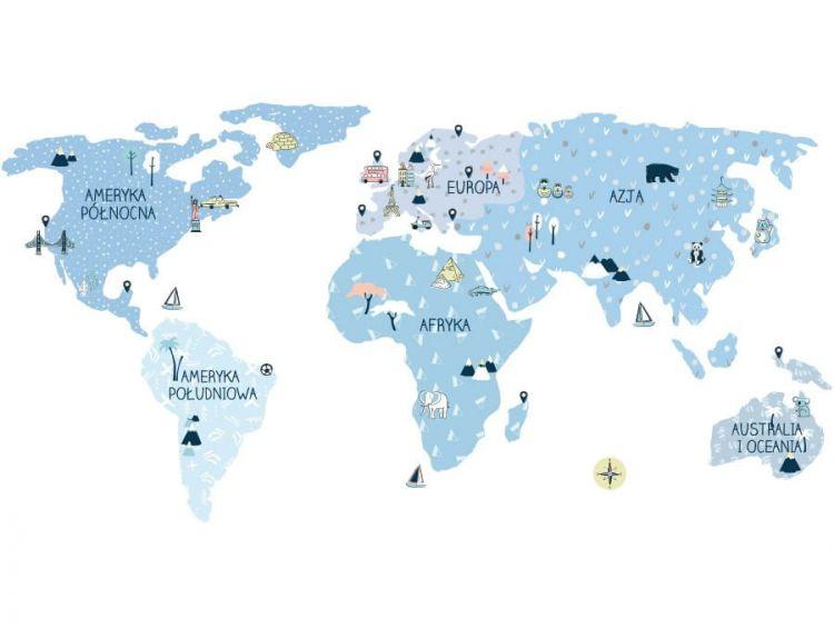 Pastelowelove - Naklejka na Ścianę Mapa Ice Cold M 140x70 cm
