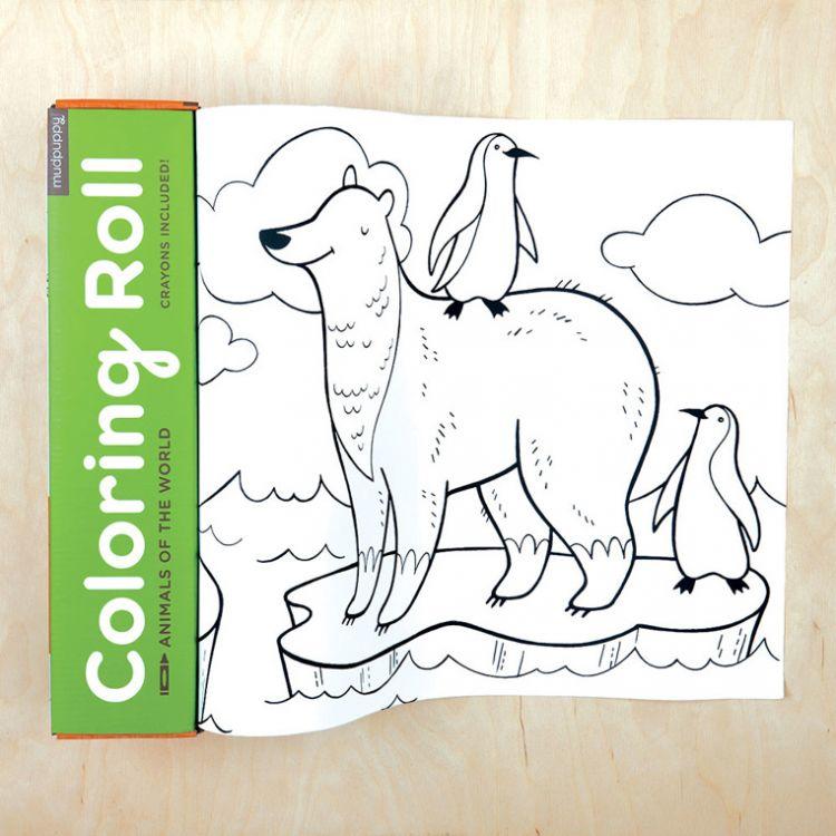Mudpuppy - Kolorowanka w Rolce 3m z 6 Kredkami Zwierzęta Świata