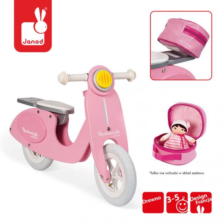 Janod - Rowerek Biegowy Różowy Scooter Mademoiselle