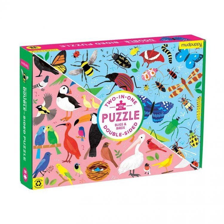 Mudpuppy - Dwustronne Puzzle Robaki i Ptaki 100 elementów 6+