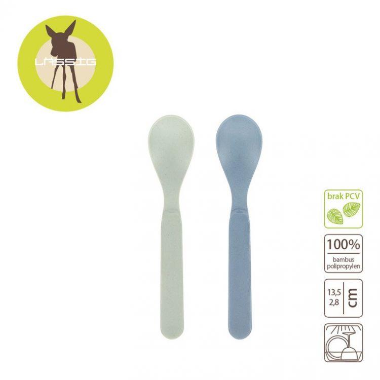 Laessig - Zestaw 4 Łyżeczek Bambusowych Mint/Blueberry