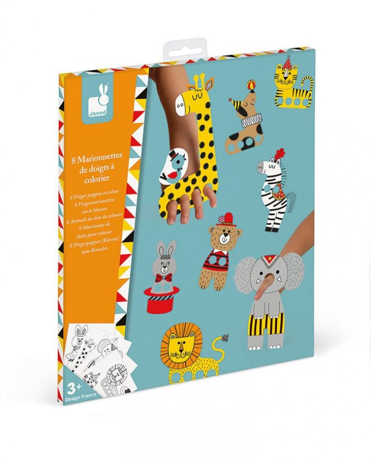 Janod - Zestaw Kreatywny Papierowe Marionetki na Palce Cyrkowe