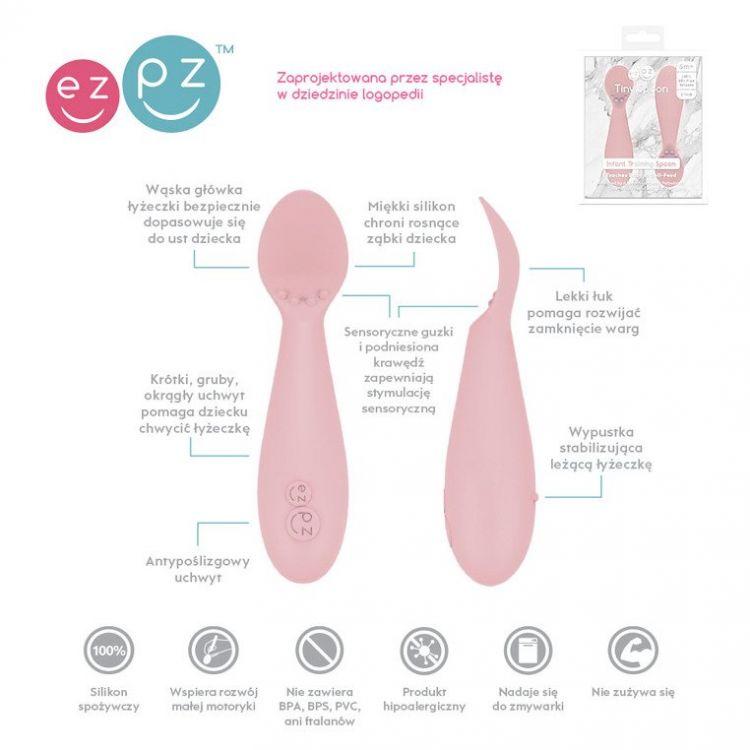EZPZ - Silikonowa Łyżeczka Tiny Spoon 2szt. Pastelowy Róż