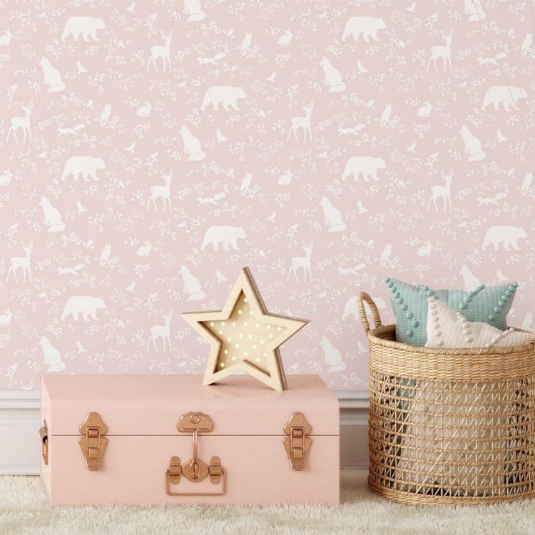 Pastelowelove - Tapeta Forest Animals Pink