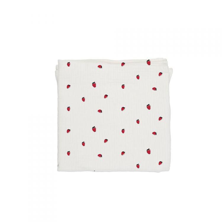 Baby Bites - Pieluszka Muślinowa 120x120 cm Strawberries White
