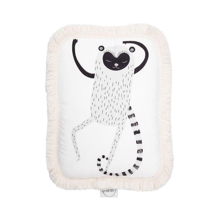 Maki Mon Ami - Ozdobna Poduszka z Frędzlami Lemur Leon