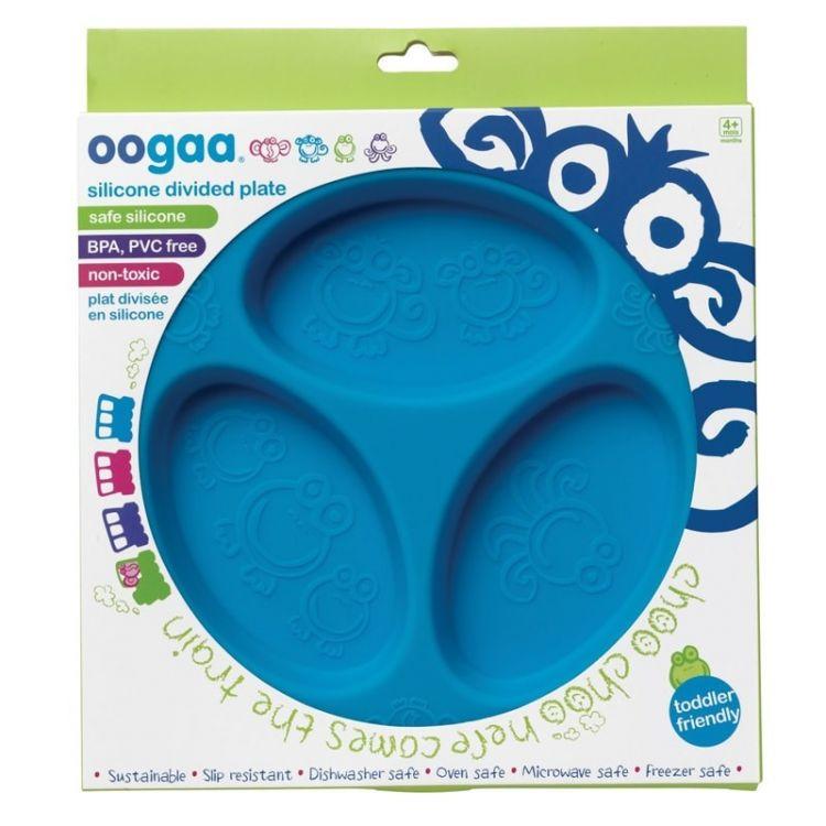 Oogaa - Silikonowy Talerzyk Trójdzielny Blue Divided Plate