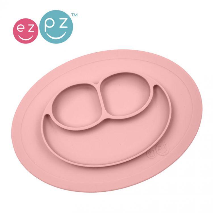 EZPZ - Silikonowy Talerzyk z Podkładką Mały 2w1 Mini Mat Pastelowy Róż