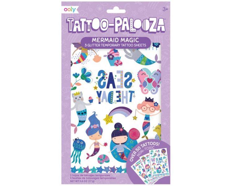 Ooly - Tatuaże zmywalne Tattoo Palooza - Syrenki 3szt. 3+