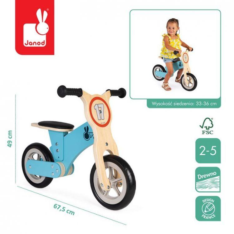 Janod - Drewniany Rowerek Biegowy Bikloon Little Racer 2+