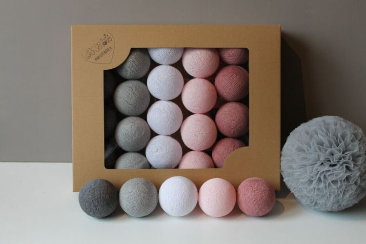 Cottonove Love - Lampka z Bawełnianych Kul 50szt. Dusty Pink